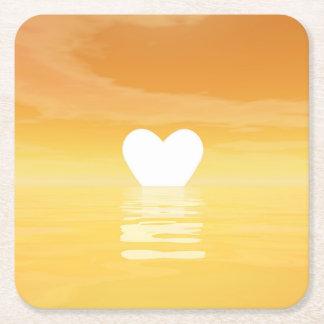 Porta-copo De Papel Quadrado Por do sol do amor - 3D rendem