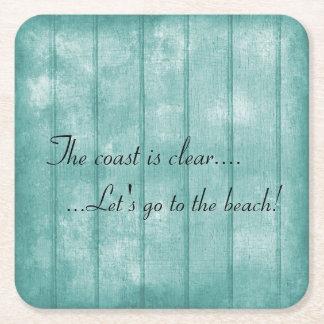 Porta-copo De Papel Quadrado Porta copos azul da praia da madeira lançada costa