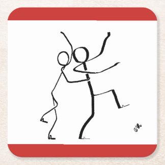 Porta-copo De Papel Quadrado Porta copos com os dois dançarinos do Conga