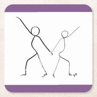 Porta-copo De Papel Quadrado Porta copos com os dois dançarinos do disco