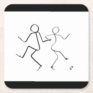 Porta-copo De Papel Quadrado Porta copos com os dois dançarinos do salto de