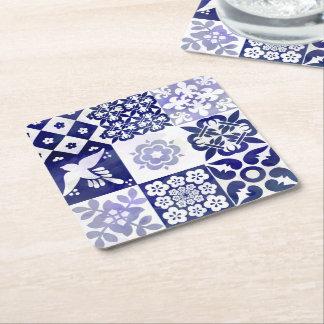 Porta-copo De Papel Quadrado Porta copos com teste padrão de Azulejos