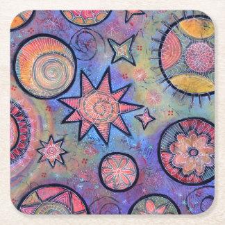 Porta-copo De Papel Quadrado Porta copos cósmica colorida lunática