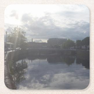 Porta-copo De Papel Quadrado Porta copos do nascer do sol do rio de Dublin