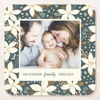 Porta-copo De Papel Quadrado Porta copos floral elegante da foto de família