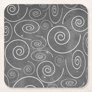 Porta-copo De Papel Quadrado Porta copos preto e branco gótico das espirais dos