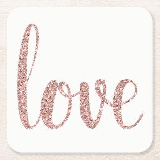 Porta-copo De Papel Quadrado Portas copos cor-de-rosa do amor do brilho do