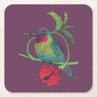 Porta-copo De Papel Quadrado Portas copos da ilustração do pássaro de Colibri