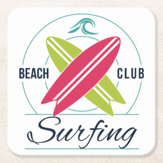 Porta-copo De Papel Quadrado Portas copos de papel surfando do clube da praia