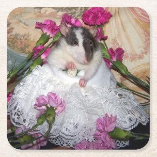Porta-copo De Papel Quadrado Portas copos de Trudy da noiva do rato do animal