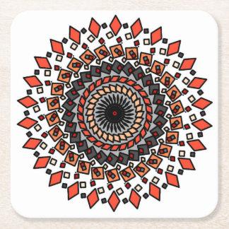 Porta-copo De Papel Quadrado Portas copos espirais geométricas alaranjadas do
