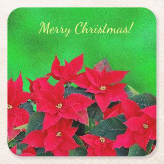 Porta-copo De Papel Quadrado Portas copos festivas da poinsétia do Feliz Natal