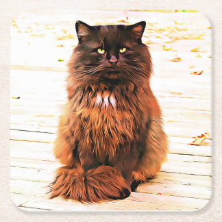 Porta-copo De Papel Quadrado Portas copos inchado do gato