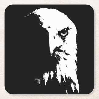 Porta-copo De Papel Quadrado Portas copos pretas & brancas da águia americana