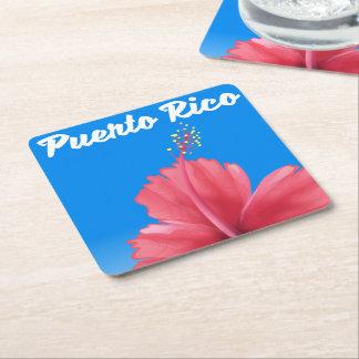 Porta-copo De Papel Quadrado Poster de viagens de Puerto Rico Flor de maga