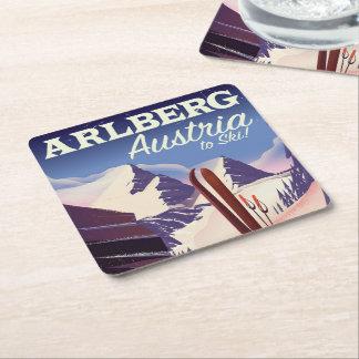 Porta-copo De Papel Quadrado Poster de viagens do esqui de Arlberg Áustria