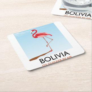 Porta-copo De Papel Quadrado Poster de viagens do flamingo de Bolívia