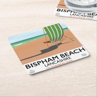 Porta-copo De Papel Quadrado Poster do beira-mar de Lancashire da praia de