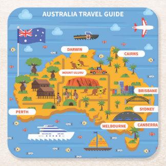 Porta-copo De Papel Quadrado Poster do guia do viagem de Austrália