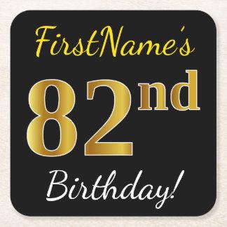 Porta-copo De Papel Quadrado Preto, aniversário do ouro do falso 82nd + Nome
