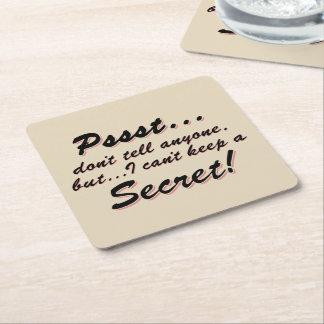 Porta-copo De Papel Quadrado Pssst… eu não posso manter um SECRETO (o preto)