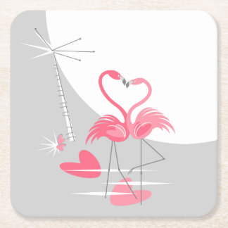 Porta-copo De Papel Quadrado Quadrado da porta copos da lua do amor do flamingo