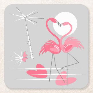 Porta-copo De Papel Quadrado Quadrado da porta copos do amor do flamingo