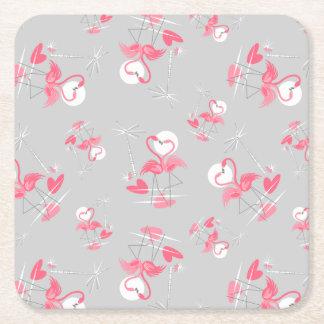 Porta-copo De Papel Quadrado Quadrado da porta copos do amor do flamingo multi