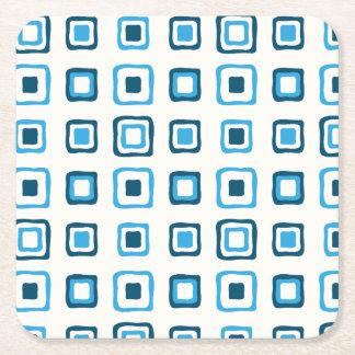 Porta-copo De Papel Quadrado Quadrados azuis nos quadrados azuis - reusáveis