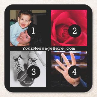 Porta-copo De Papel Quadrado Quatro de seus fotos e texto para fazer seu