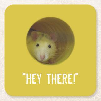 Porta-copo De Papel Quadrado Rato bonito em um animal engraçado do furo