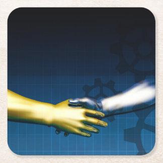 Porta-copo De Papel Quadrado Rede da integração do negócio com as mãos que