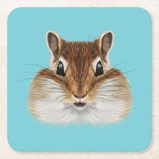 Porta-copo De Papel Quadrado Retrato ilustrado do Chipmunk.