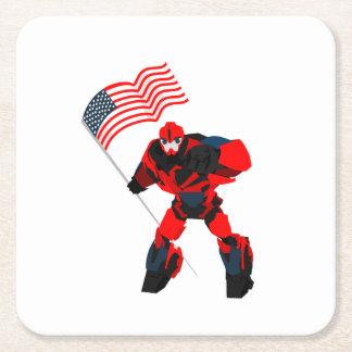 Porta-copo De Papel Quadrado Robô com os meninos da bandeira americana para 4o