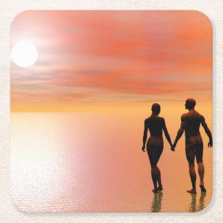 Porta-copo De Papel Quadrado Romance do casal - 3D rendem