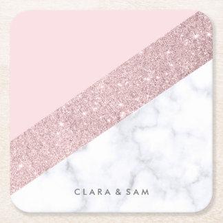 Porta-copo De Papel Quadrado rosa de mármore branco do brilho cor-de-rosa
