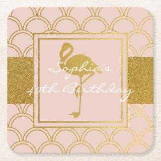 Porta-copo De Papel Quadrado Rosa do vintage do flamingo e festa de aniversário