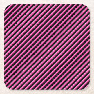 Porta-copo De Papel Quadrado Rosa quente e diagonal preta listrados