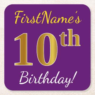 Porta-copo De Papel Quadrado Roxo, aniversário do ouro do falso 10o + Nome