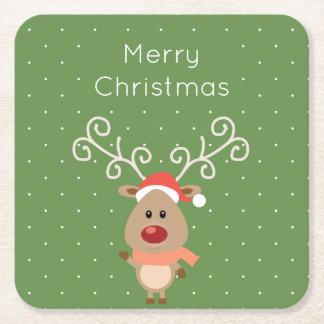 Porta-copo De Papel Quadrado Rudolph bonito os desenhos animados cheirados