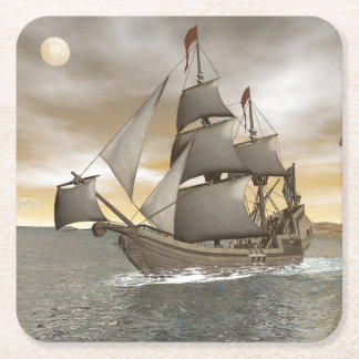 Porta-copo De Papel Quadrado Sair do navio de pirata - 3D rendem