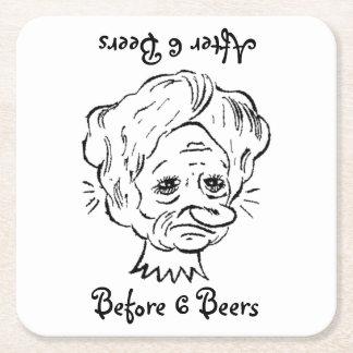 Porta-copo De Papel Quadrado Seis cervejas antes e depois