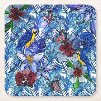 Porta-copo De Papel Quadrado Selva do azul Aloha & flores exóticas tropicais de