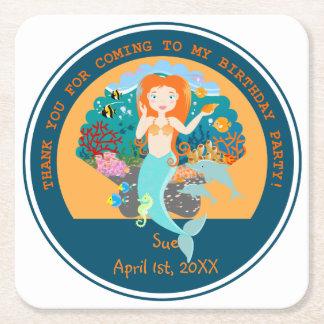 Porta-copo De Papel Quadrado Sereia e festa de aniversário dos golfinhos