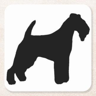 Porta-copo De Papel Quadrado silhueta do terrier de lakeland