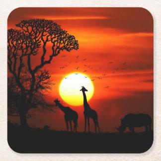Porta-copo De Papel Quadrado Silhuetas africanas do animal do por do sol do