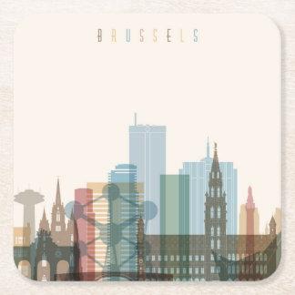 Porta-copo De Papel Quadrado Skyline da cidade de Bruxelas, Bélgica |
