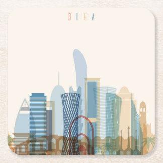 Porta-copo De Papel Quadrado Skyline da cidade de Doha, Qatar  