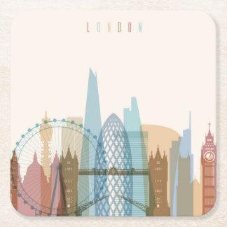 Porta-copo De Papel Quadrado Skyline da cidade de Londres, Inglaterra |