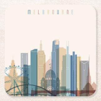 Porta-copo De Papel Quadrado Skyline da cidade de Melbourne, Austrália |